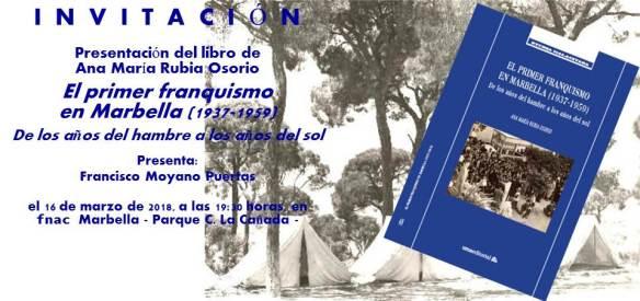 Invitación El primer franquismo en fnac Marbella